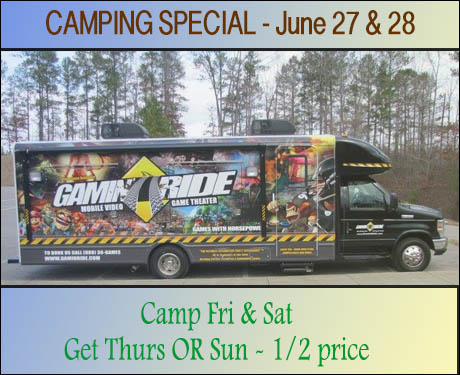 Join us the weekend of June 27 - 28 for GamInRide and save 1/2 price on camping either Thursday or Sunday